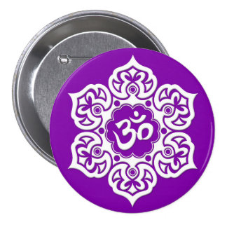 White Lotus Flower Om on Purple Pinback Buttons