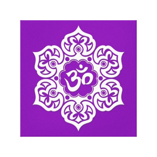 White Lotus Flower Om on Purple Gallery Wrap Canvas