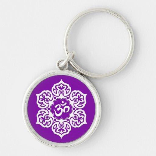 White Lotus Flower Om on Purple Keychains