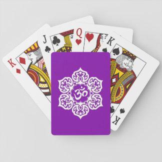 White Lotus Flower Om on Purple Deck Of Cards