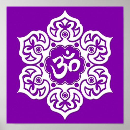 White Lotus Flower Om on Purple Poster