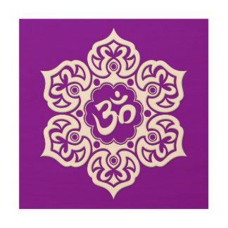 White Lotus Flower Om on Purple Wood Print