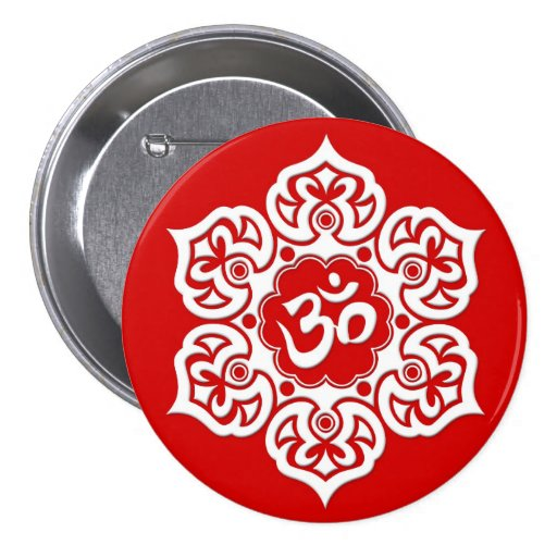 White Lotus Flower Om on Red Pins