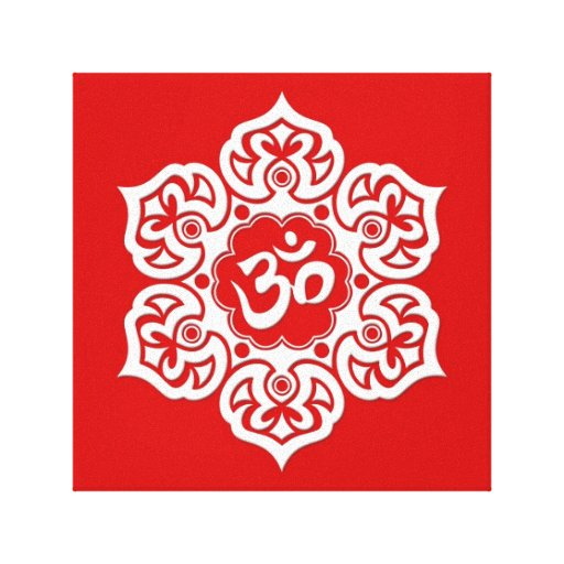 White Lotus Flower Om on Red Canvas Prints