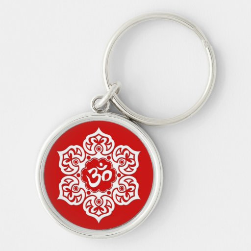 White Lotus Flower Om on Red Keychain