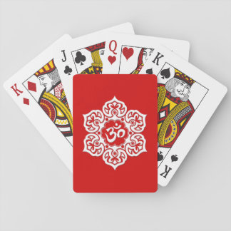 White Lotus Flower Om on Red Playing Cards