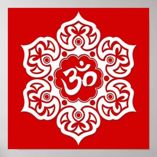 White Lotus Flower Om on Red Poster