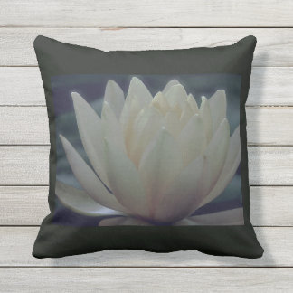White Lotus Flower Water Lily Throw Pillow