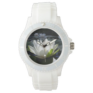 White Lotus on Sporty Watch, White Silicone Strap Wristwatch