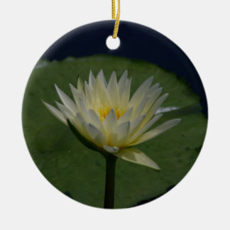 White Lotus Waterlily Flower Ceramic Ornament