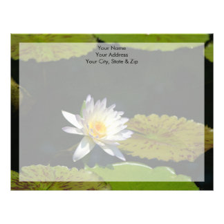 White Lotus Waterlily Flower Letterhead