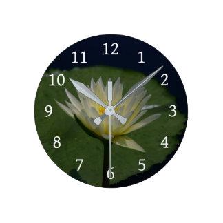 White Lotus Waterlily Round Clock