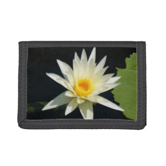 White Lotus Waterlily Tri-fold Wallets