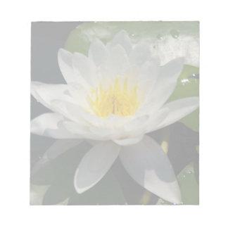 White Lotus Waterllly Flower Notepad