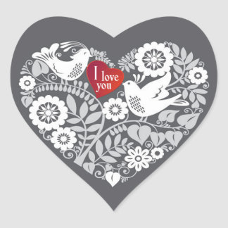 White Love BIrds with Red & Gray Heart Floral Heart Sticker