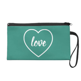 White Love Heart on Gypsy Teal Personalized Wristlet