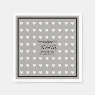 white love hearts pattern on gray personalized wed paper napkins