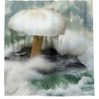 White Magic Mushroom Shower Curtain