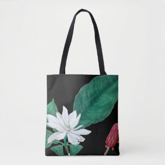 White magnolia black tote bag