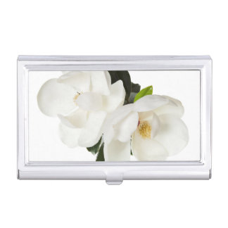 White Magnolia Flower Magnolias Floral Flowers Business Card Holder