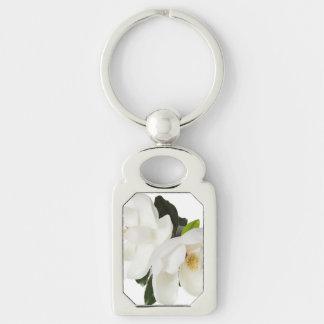 White Magnolia Flower Magnolias Floral Flowers Keychain