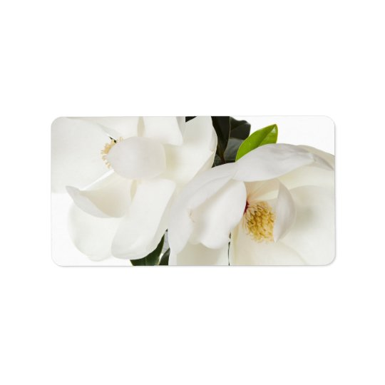 White Magnolia Flower Magnolias Floral Flowers Label
