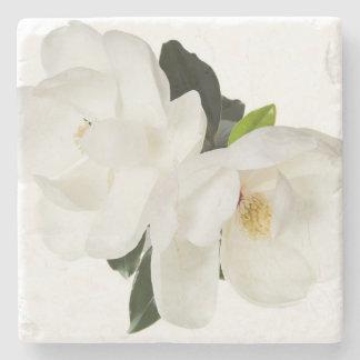 White Magnolia Flower Magnolias Floral Flowers Stone Coaster