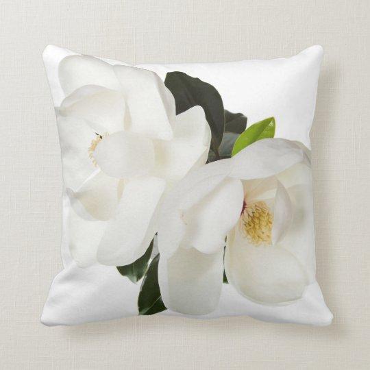 White Magnolia Flower Magnolias Floral Flowers Throw Pillow