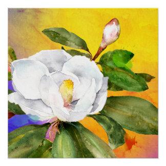 White magnolia watercolor by Ozias Poster
