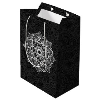 White Mandala & Black Floral Paisley Background Medium Gift Bag