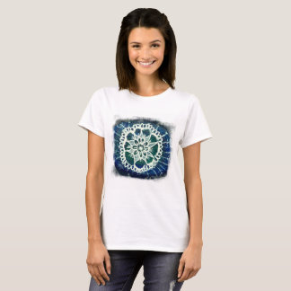 White mandala blue background Lady Shirt