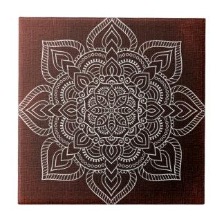 White Mandala Flower On Claret Tile