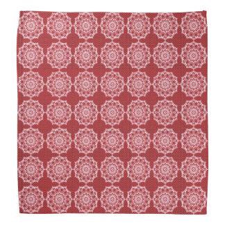 White Mandala on Mosaic Red Pattern Bandana