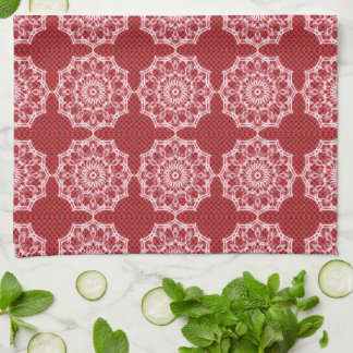 White Mandala on Mosaic Red Pattern Kitchen Towel