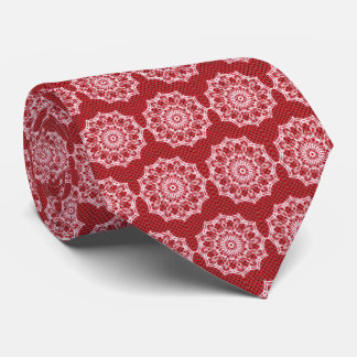 White Mandala on Mosaic Red Pattern Tie