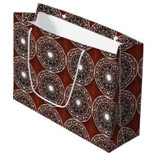 White  Mandala Pattern On Brown Large Gift Bag