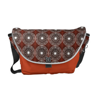 White  Mandala Pattern On Brown Messenger Bags