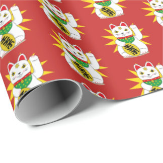 White Maneki Neko Good Luck Lucky Fortune Cat Wrapping Paper
