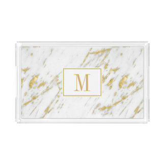 White Marble And Frame Gold Glitter Acrylic Tray