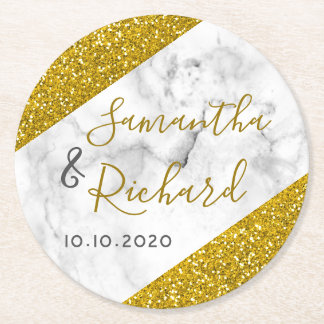 White Marble And Gold Glitter Wedding Round Paper Coaster