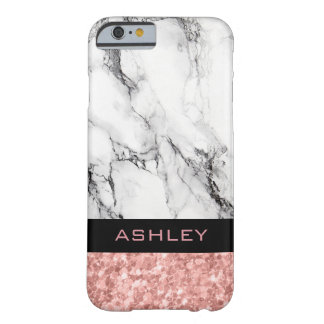 White Marble And Rose Gold Glitter Barely There iPhone 6 Case