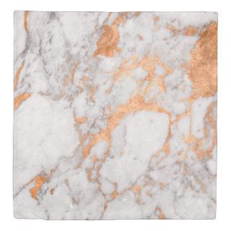 White Marble & Copper Duvet Cover