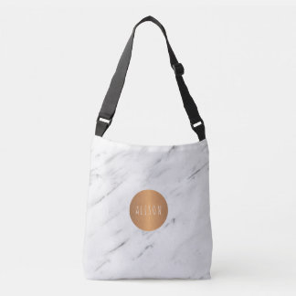 White marble copper geometric monogram books crossbody bag