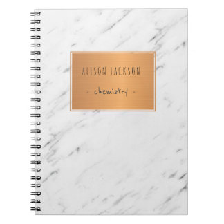 White marble copper label trendy cool school spiral notebook