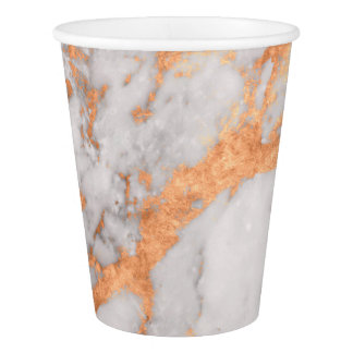 White Marble & Copper Paper Cup