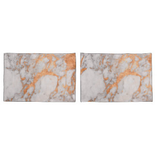 White Marble & Copper Pillow Cases Pillowcase