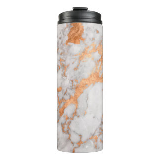 White Marble & Copper Thermal Tumbler
