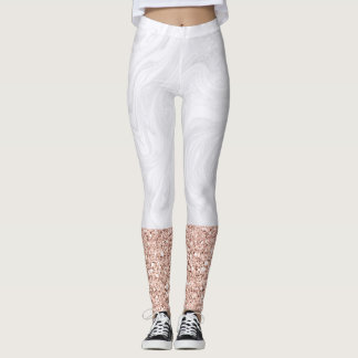 White Marble Dipped in Faux Rose Gold Glitter Leggings