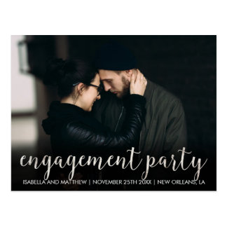 White Marble Engagement Party | Customizable Photo Postcard