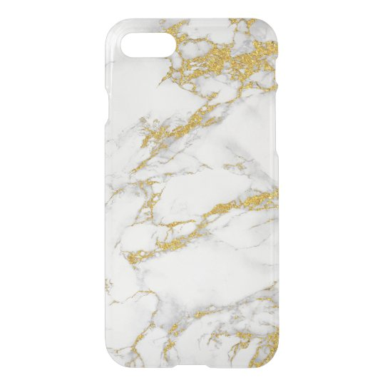 White Marble Gold Accent iPhone 7 Case